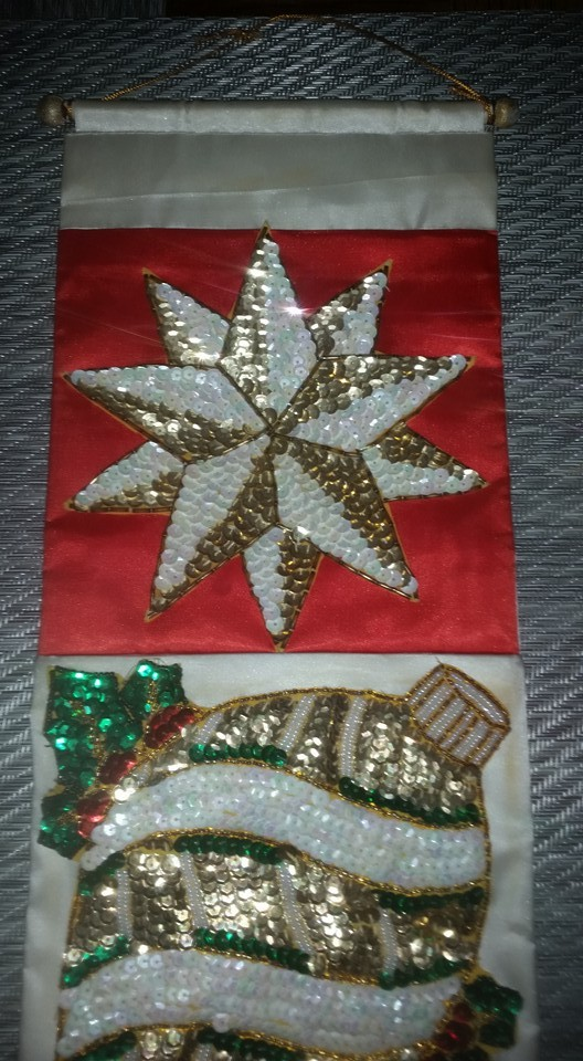 Antique Old Hand Made Sequin & Beaded Christmas Wall Hanging Decoration
