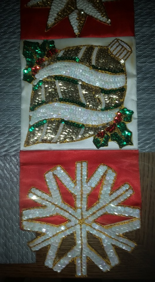 Wall Hanging Decoration Handmade : Antique old hand made sequin beaded christmas wall