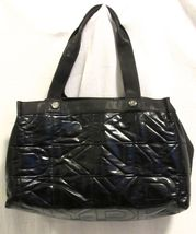 DKNY Active Women's Quilted Logo Bag Purse Large Satchel/Tote Patent Black