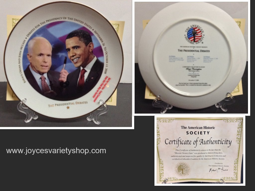 American Historical Society 2008 Debates Obama McCain Collector Plate