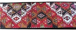 "Wool Loomed Knotted Runner Rug 93""x16"" 7 foot Boho Folk Multicolored Table - $42.08"