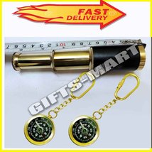 """6"""" Antique Style Brass Telescope Leather Bounded + 2 Pcs Keychain Compas... - $39.00"""