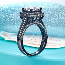 Luxury Vintage Wedding Engagement Anniversary Ring Black 925 Silver Lab Diamond - $124.99