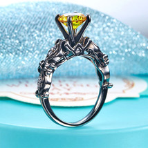 Black Silver Engagement Anniversary Ring Vintage Style Yellow Canary Lab Diamond - $119.99