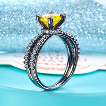 Black Sterling Silver Engagement Anniversary Ring Yellow Canary Lab Made Diamond - $134.99