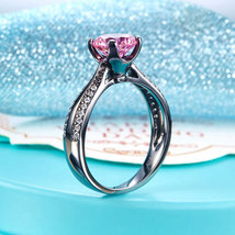 Black Silver Wedding Engagement Anniversary Ring Fancy Pink Lab Created Diamond - $119.99