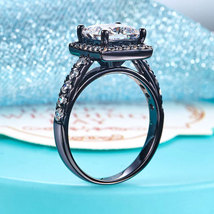 1.5 Ct Lab Diamond Wedding Engagement Anniversary Ring Black Sterling 92... - $114.99