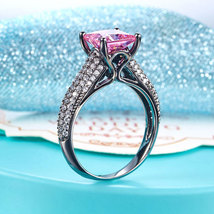 Black Silver Wedding Engagement Anniversary Ring Princess Fancy Pink Lab Diamond - $144.99
