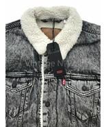 Levis Premium Red Tab Mens L Black Acid Wash Denim Jean Sherpa Trucker J... - $112.10