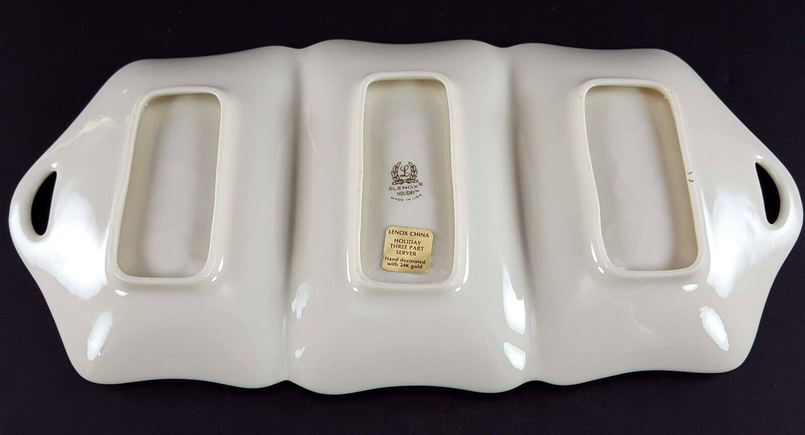 """LENOX China Holiday Dimension 3 Part Utility Serving Tray 13-3/8"""" Dinnerware image 4"""