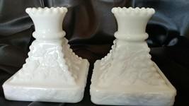 Vintage Pair of Westmoreland Milk Glass Candleholders Grape Motif - $15.50