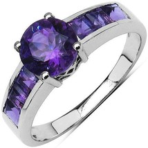 1.32 Carat Genuine Amethyst & White Topaz .925 Sterling Silver Ring - $29.99