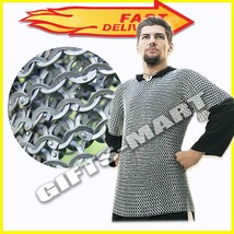 Medieval Haubergeon Aluminum Chainmail shirt Flat Riveted flat washer An... - $199.00