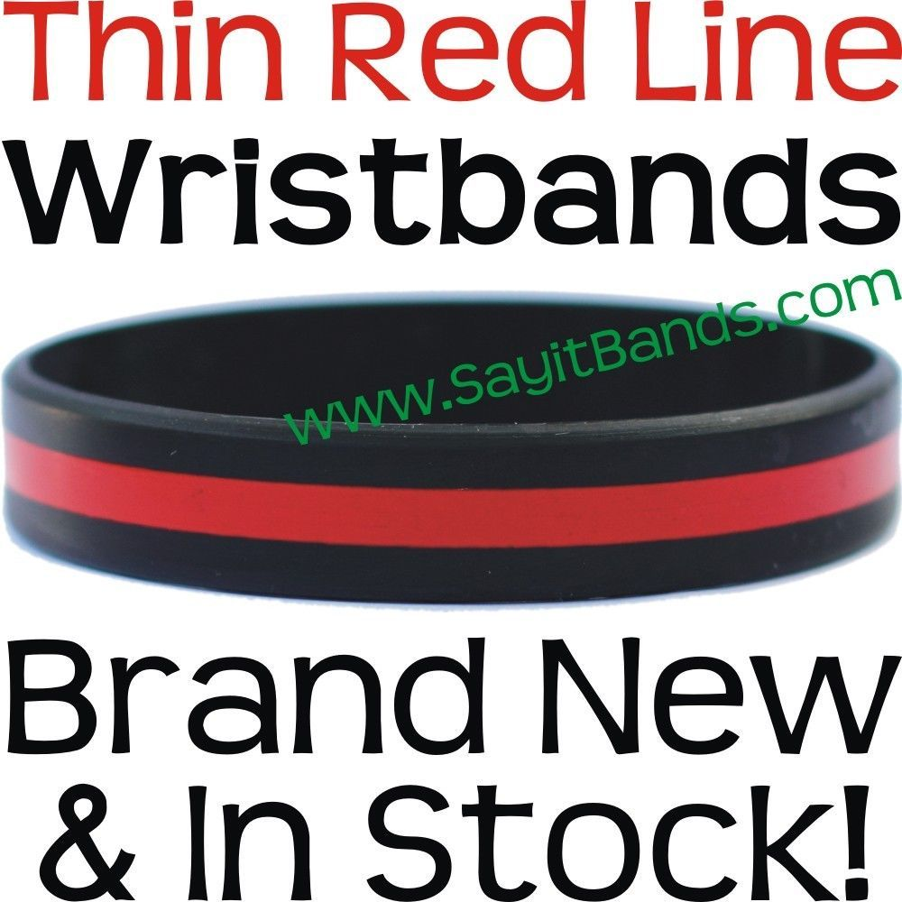 Primary image for 100 Thin RED Line Wristband Bracelets Firefighter Support Fire Fighter Awareness