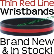 100 Thin RED Line Wristband Bracelets Firefighter Support Fire Fighter Awareness - $48.88