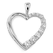 Sterling Silver Beautiful CZ Heart pendant New Anniversary Love Gift d97 - $12.49