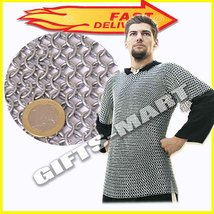 Butted Aluminium Chainmail Shirt XL Size, Medieval Re-enactment Armor Ch... - $365.00