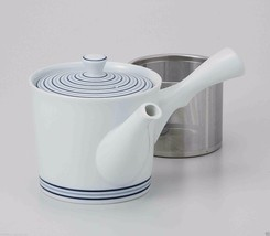 Japanese White Porcelain : Spiral - Kyusu Tea pot w Super stainless stee... - $65.45