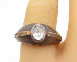925 Silver & 14K GOLD - Vintage Topaz Dark Tone Dome Band Ring Sz 8 - R1... - €27,46 EUR