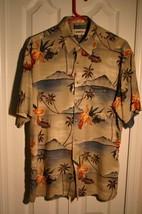 campa moda mens M short sleeve hawaiian island rayon shirt multi-color - $12.87