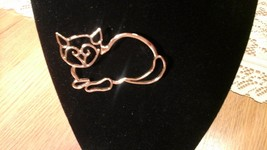 "Cat Pin gold toned no scratches 2 .5 ""x 2"" - $7.92"