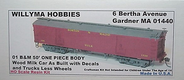 Willyma Hobbies HO Boston & Maine  B&M 50' Wood Milk Car ONE PIECE BODY Kit 01