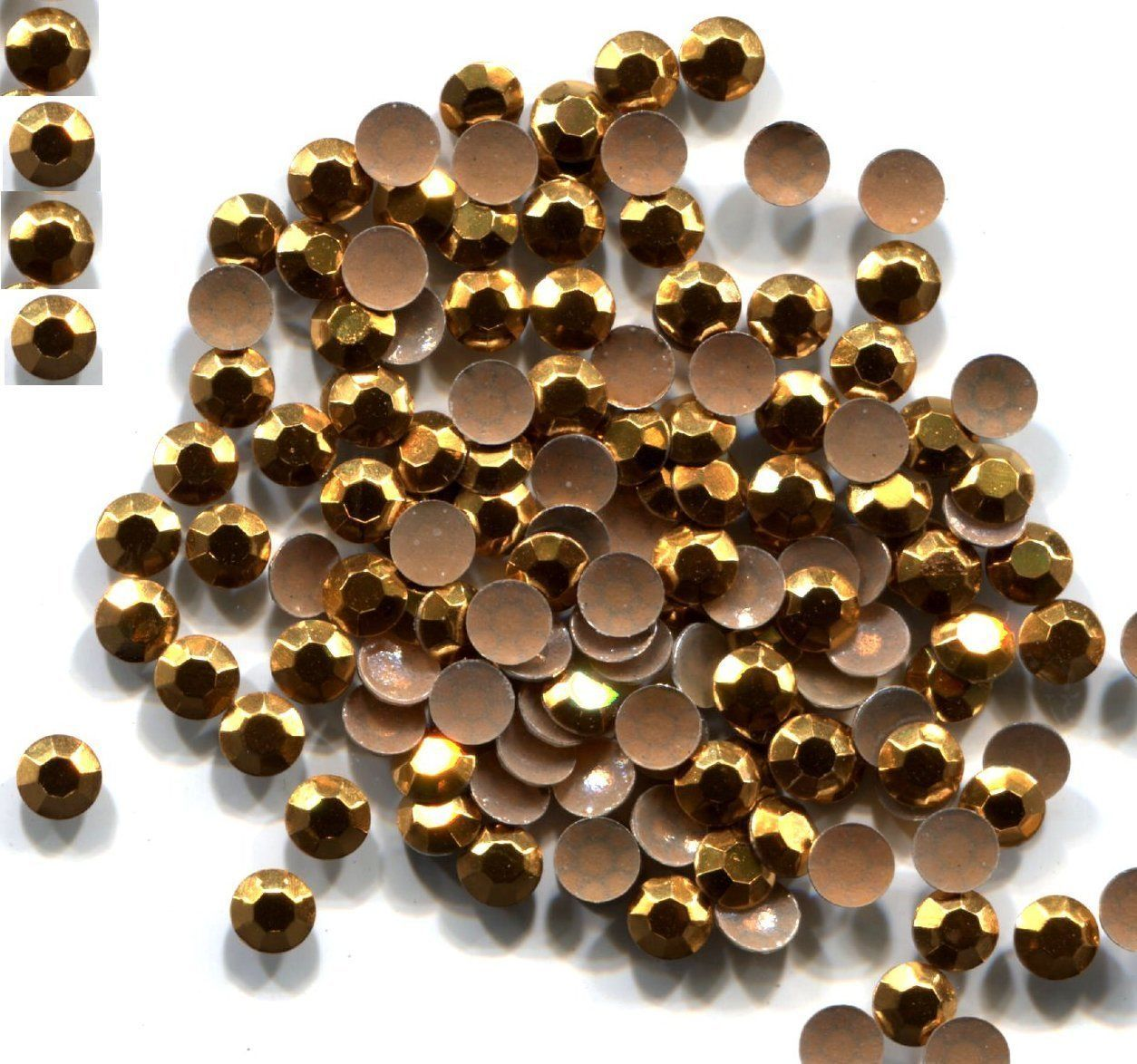 Primary image for RHINESTUDS Faceted Metal 3mm Hot Fix GOLD Color 144 pc  1 gross
