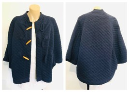 COUNTRY ROAD Womens Navy Blue Quilted Stitch Bat Sleeve Coat Caplet Size... - $17.62
