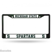 MICHIGAN STATE SPARTANS GREEN LOGO METAL LICENSE PLATE FRAME USA MADE  - $29.69