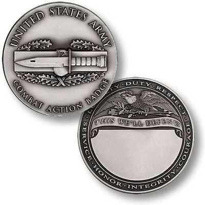 ARMY COMBAT ACTION  BADGE ENGRAVABLE MILITARY CHALLENGE COIN