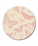 Pink Butterflies Pattern Round Computer Mouse Pad Mat Mousepad New - $11.69