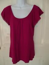 Gap Fuschia Cap Sleeve Pim Cotton Blend Size Small Women's NWOT - $37.99