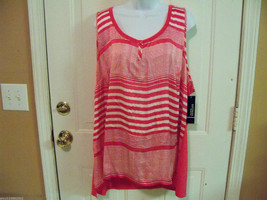 George Woven Smokin Hot Pink & White Striped Shirt Size 4X (26W-28W) Wom... - $28.99