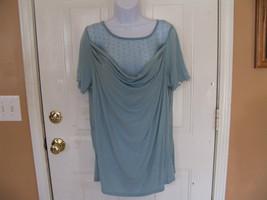 George Studio Blue Mesh Drapeneck Shirt Size 2X (20) Women's NEW LAST ONE  - $30.99