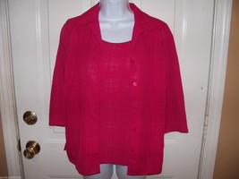 Notations Raspberry Layered Blouse Size Medium Petite Women's NEW LAST ONE  - $38.99