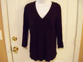Ann Taylor Loft Black Blouse W/Sequence Size Medium Women's EUC - $32.99