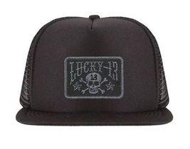 Lucky 13 Skull Stars Flat Bill Tattoo Ink Bike Goth Foam Mesh Trucker Hat Cap image 3