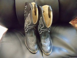 Black Old West Western Cowboy Riding Show Boots Boot Children Size 12.5 EUC - $38.49