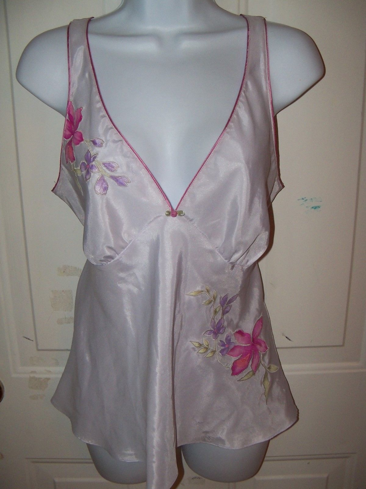 Oscar De La Renta Pink Label Cami Lavender W/Floral Tank Top Sleep Wear Size M - $30.99