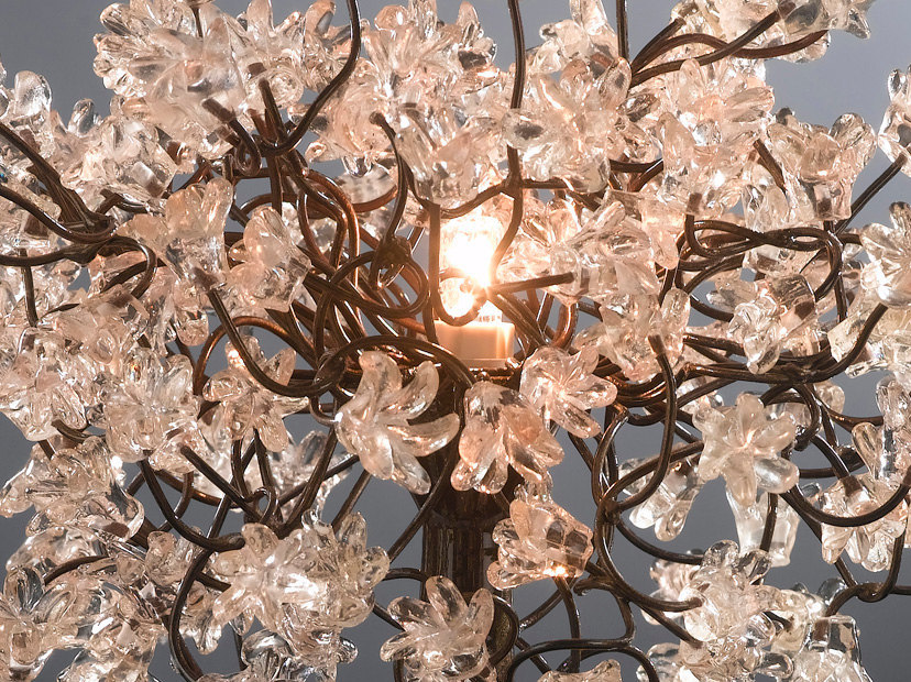 Transparent flowers Table Lamp with metal wires, small table lamp, clear flowers