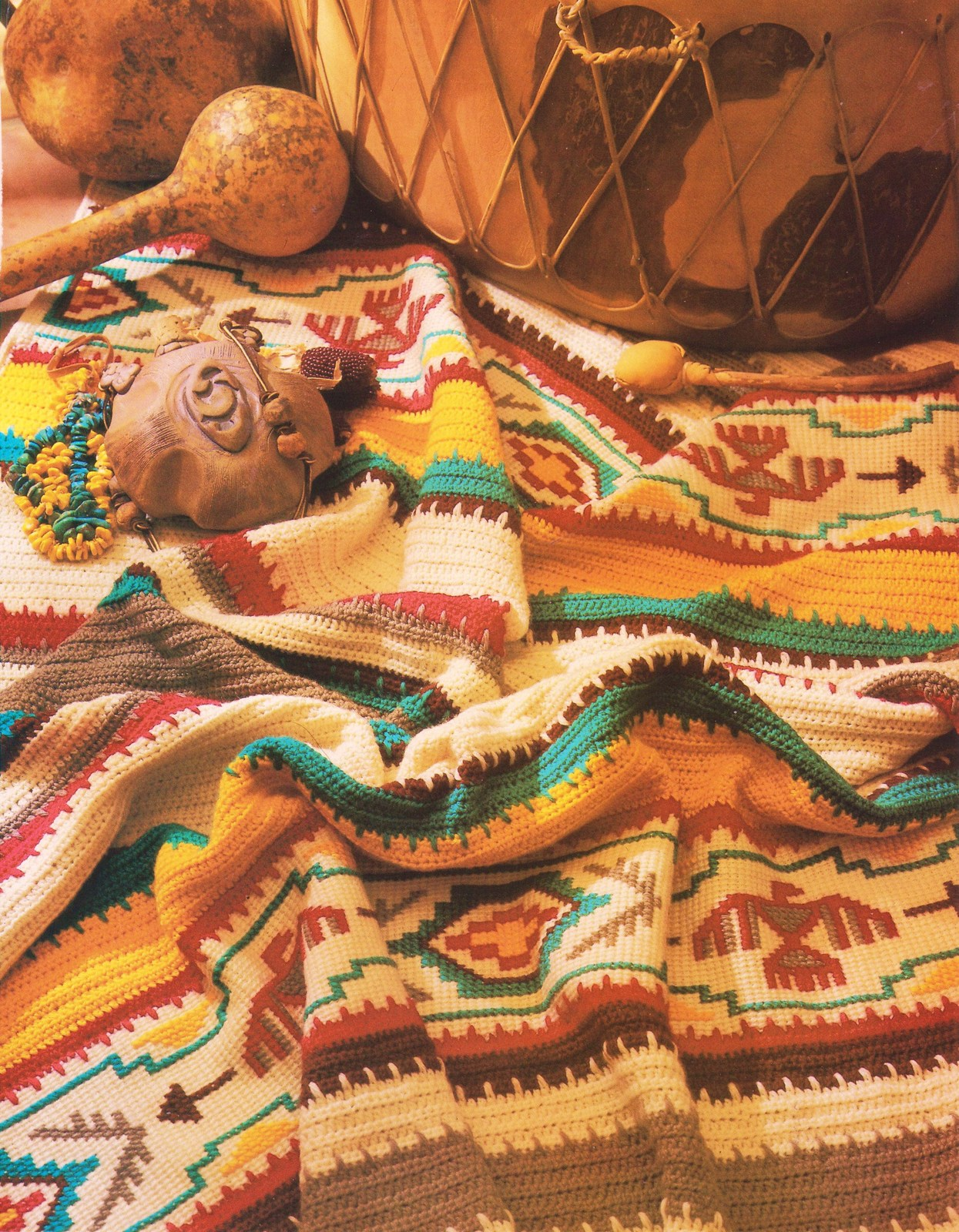 Crochet Pattern Southwestern Afghan : Indian Blanket Crochet Pattern Afghan Native American ...
