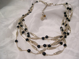 "LIZ CLAIBORNE - Five Strand Necklace - Black & Silver - 18"" Length - $7.91"