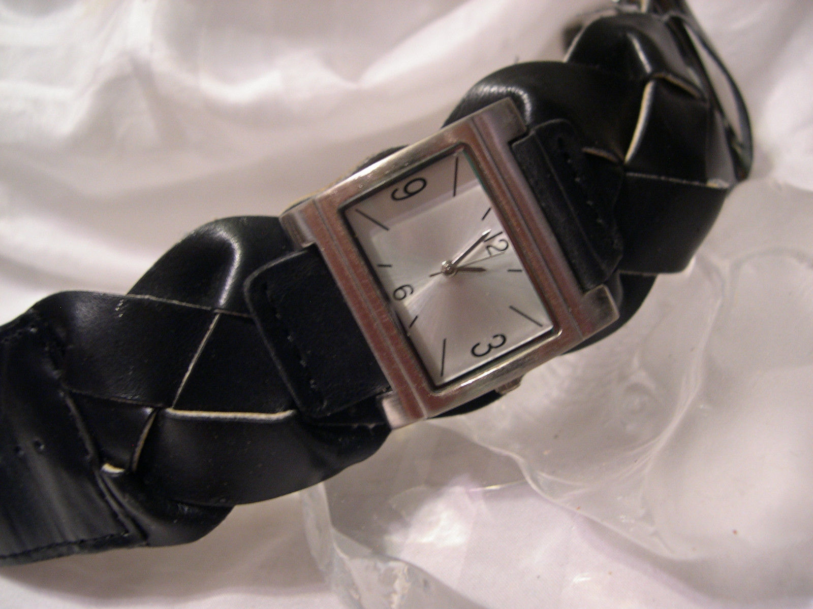 "Primary image for L60, Ladies Silver Faced Watch, Wide 8""  Braided Band, w/b"