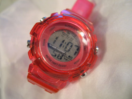 """L69, Ladies Sports Wristwatch 9"""" Clear Red Silicon Band, Multi-functional, light - $11.99"""