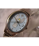 L61, Angel,  Ladies Cuff Watch, Angel on Blue Face, Prayer on Back, w/batt - $19.79