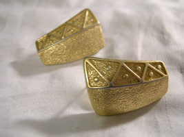 "TRIFARI - Gold Tone with Designs - Pierced Earrings - 1"" lgth - $9.89"