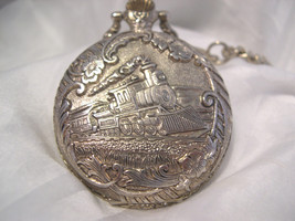 "M12, Brut Mens Pocket Watch, Locomotive Engraving, Silver Tone, 14"" Chain - $29.79"