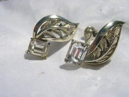 "CORO -  Silver Tone Leaf & Crystal - Screw-On Earrings - 1"" - $9.89"