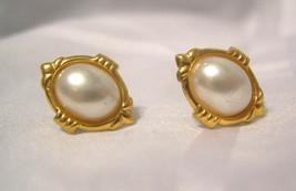 """Petite Oval FAUX PEARLS - Gold Tone Setting - Pierced Earrings - 1/2"""" - $5.91"""