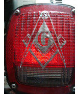 Masonic Tail Light White Sticker/Decals 4x3 fits all taillights 1 Set of 2 - $5.00